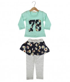 Flower 78 Tee + Pant - Turquoise