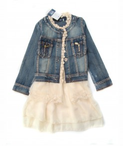Ivory Dress + Denim Jacket