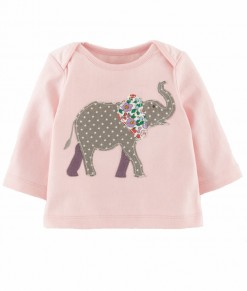Elephant Applique Pink Tee