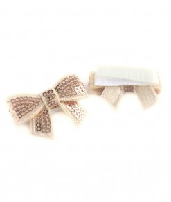 Mini Sequin Bow Velcro Clip (isi 2)