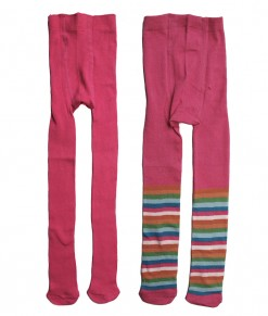 Girl 2in1 Full Feet Legging - Pink + Pink Stripes (1-2T)