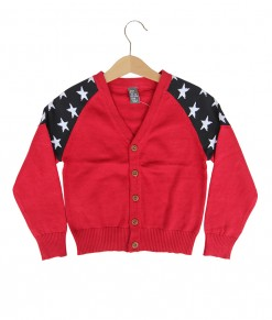Star Shoulder Red Cardigan