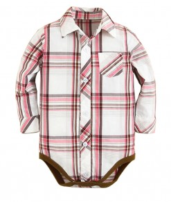 Plaid Classic Bodysuit Shirt - Pink