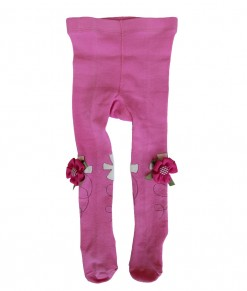 Applique Flower Baby Legging - Pink Hot