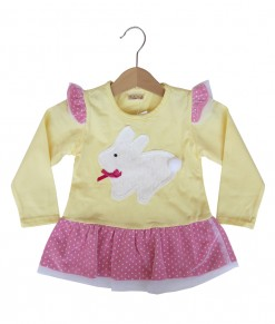 Bunny Polka Frock Top - Yellow