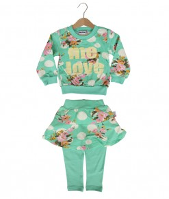 Love Flower Polka Tee + Pant - Green