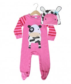 Costume Jumpsuit + Hat - Pink Cow