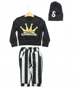 Crown Black Top + Stripes Pant + Hat