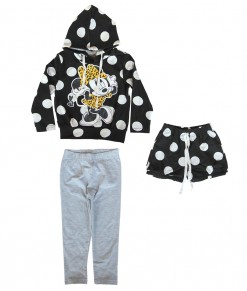 Minnie Hoodie Top + Short Pant + Legging
