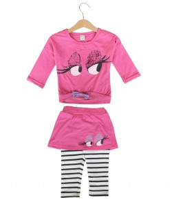Flirty Eye Tee + Stripes Pant - Pink