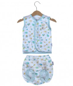 Sleeveless Button Animal Set (Newborn-12M) - Blue
