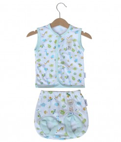 Sleeveless Button Animal Set (Newborn-12M) - Green