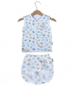 Sleeveless Button Animal Set (Newborn-12M) - White