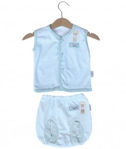 Sleeveless Button Stripes Set (Newborn-12M) - Blue