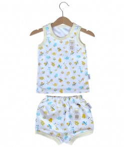 Sleeveless Tee Animal Set (2-12M) - Yellow