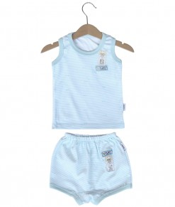 Sleeveless Tee Stripes Set (2-12M) - Blue