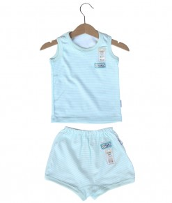 Sleeveless Tee Stripes Set (2-12M) - Green