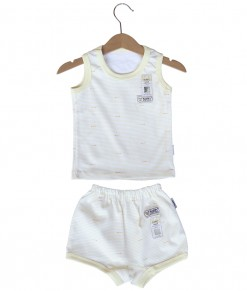 Sleeveless Tee Stripes Set (2-12M) - Yellow