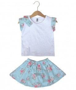 Prim Girl Top + Skirt - Blue Bubble