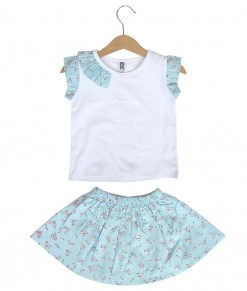 Prim Girl Top + Skirt - Blue Flower