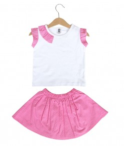 Prim Girl Top + Skirt - Pink Polka