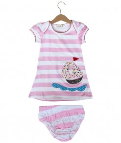 Sail Pink Stripes Dress + Underpant