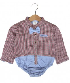 Bow Tie Plaid Bodysuit - Red