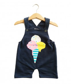 Short Overall - Navy Ice cream