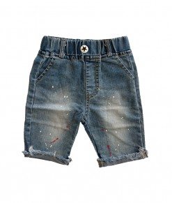 0102-1676H SPLASHED SHORT JEANS - 9961