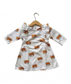 0103-953C LOVEBIRD Ruffled Sleeve Dress - White Bear