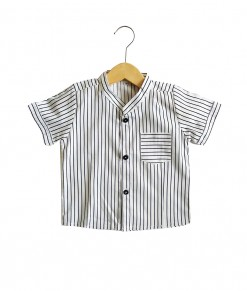 0101-1581b - Azka Stripe Shirt -White Black