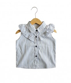 0101-1582c - azkila Sleeveless Blouse - stripe white blue