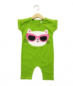 Mimo Playsuit - Green Cat
