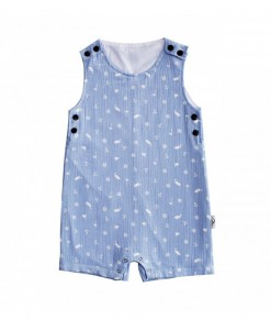 I am cotton sleeveless romper blue sea