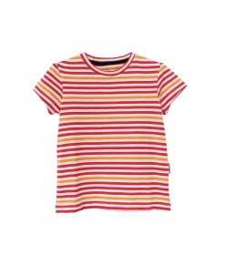 I am cotton - short tee stripe pink yellow2