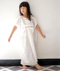 feathery kaftan white